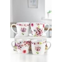 Set Of 4 New Bone China Spring Floral Mugs