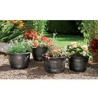 Set Of Four Half Barrel Planters