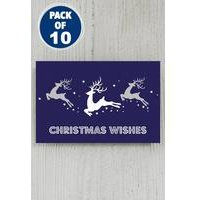 Pack Of 10 Blue Leaping Reindeer Gift Tags