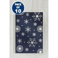 10 Navy Snowflake Foil Gift Tags