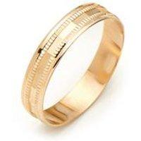 Mens 9ct Gold Diamond Cut Wedding Band