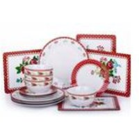 16 Piece Retro Rose Dinner Set and Placemats