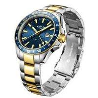 rotary gents havana two tone bracelet watch