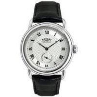 rotary mens vintage style black leather strap watch