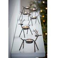 6 Metal Reindeer Tea Light Holders