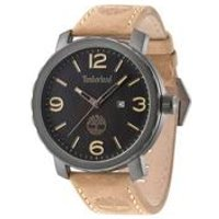 timberland pinkerton camel brown leather strap watch with black dial