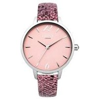 lipsy ladies dusty pink snake watch