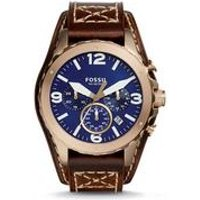 Gents Fossil Nate Chronograph Brown Leather Watch