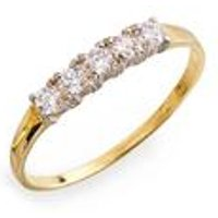 9ct Yellow Gold CZ Five Stone Half Eternity Ring