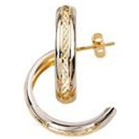 9ct Gold Two Tone Diamond Cut Half Hoop Earrings