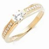 9ct Yellow Gold Small Solitaire CZ and CZ Shoulder Ring at Ace Catalogue