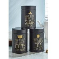 Set Of 3 Black/Gold Tea, Coffee, Sugar Canisters