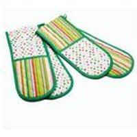 Double Oven Gloves - Multi Polka