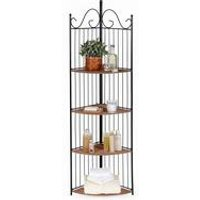 4 Tier Rattan-Effect Corner Shelf