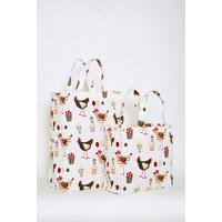 Set Of 2 Chicken Canvas Bags