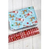 2m Santa and Rudolf Twin Pack Roll Wrap