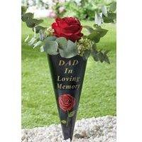 Plastic Rose Memorial Dad