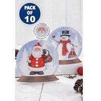 10 Snowglobe Santa and Snowman Cards