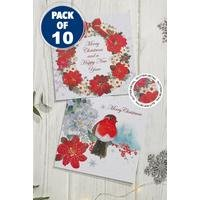 10 Floral Robin and Wreath Cards