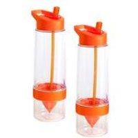 Pack Of 2 X 650ml Fruit Infuser Bottles - Red