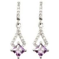 Silver Purple and White CZ Earrings