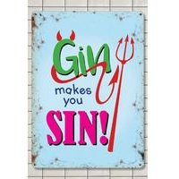 Gin Makes You Sin Sign Small