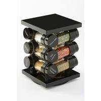12 Filled Spice Jars and Rotating Rack