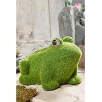 Stone-Effect Flocked Frog Garden Ornament