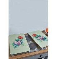 Set Of 2 Glass Floral Hob Covers