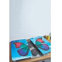 Set Of 2 Glass Butterfly Hob Covers