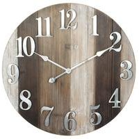 Round Wooden Wall Clock with Metal Numbers