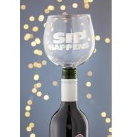 Tipple Topper Wine Glass Sip Happens