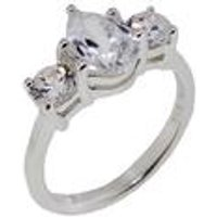 Silver 3 Stone Pear and Round Cz Ring