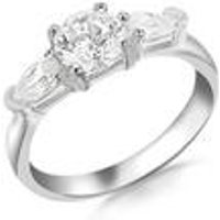 Silver Cz Round and Pear Cut Ring