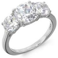 Silver 3 Stone White Cz Ring
