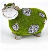 Stone-Effect Flocked Cow Garden Ornament