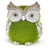 Stone-Effect Flocked Owl Garden Ornament