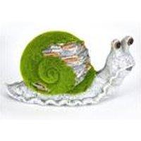 Stone-Effect Flocked Snail Garden Ornament