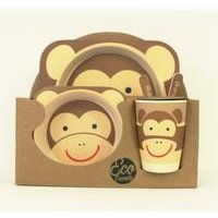 Monkey Kids 5 piece Bamboo Dinner Set