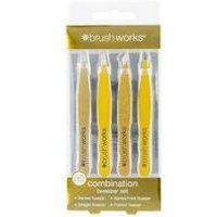 Brush Works Combination Gold Tweezer Set