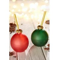 Set of 2 Coloured Christmas Bauble Glasses