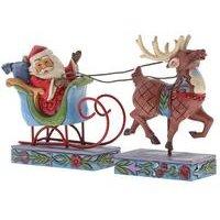 Heartwood Creek Santa In Sleigh With Reindeer Ornament