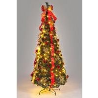 6ft Pre-Lit Red and Gold Pop Up Decorated Christmas Tree