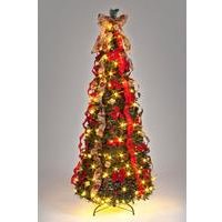 6ft Pre-Lit Poinsettia Pop Up Decorated Christmas Tree