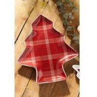 Set of 2 Highland Tartan Christmas Tree Plates