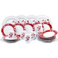 24-Piece Red and White Festive Blossom Dinner Set