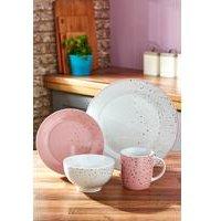 16-Piece Pink and Gold Porcelain Dinner Set