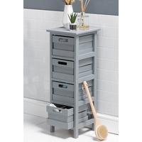 Grey Wooden 4 Drawer Storage Cabinet