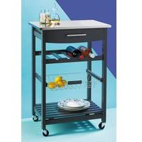 Grey Kitchen Trolley with Stainless Steel Top