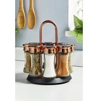 Tower Rose Gold Rotating Spice Rack - 8 Jars